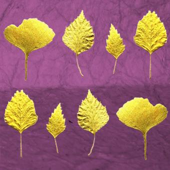 Flower Press - New! card range : LP16 Gold Leaves 1 (purple)