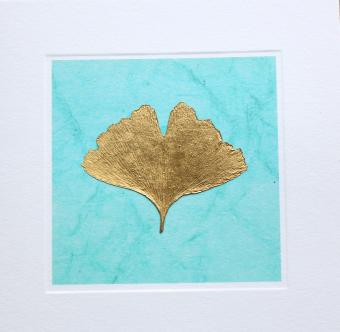 Flower Press - New! card range : RLG 1  GINGKO gold/turquoise