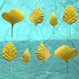 Leaf Press - New Cards! card range : LP17 Gold Leaves 2 Turqoise